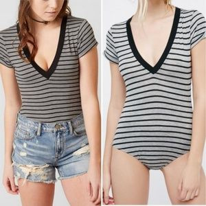 Free People Oh My Oh Striped Bodysuit